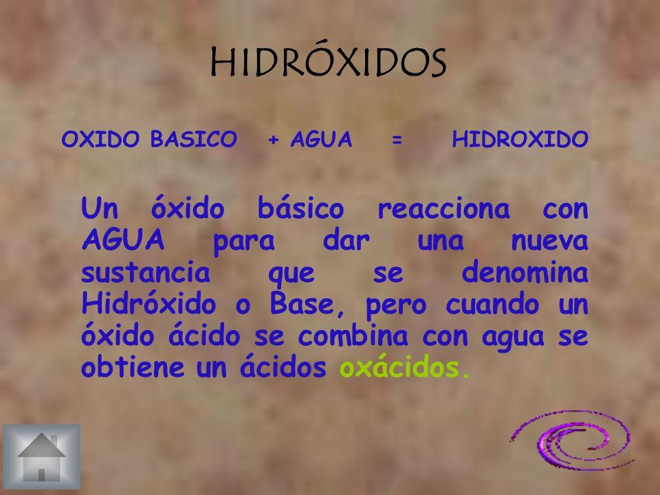 HIDRÓXIDOS OXIDO BASICO + AGUA = HIDROXIDO.