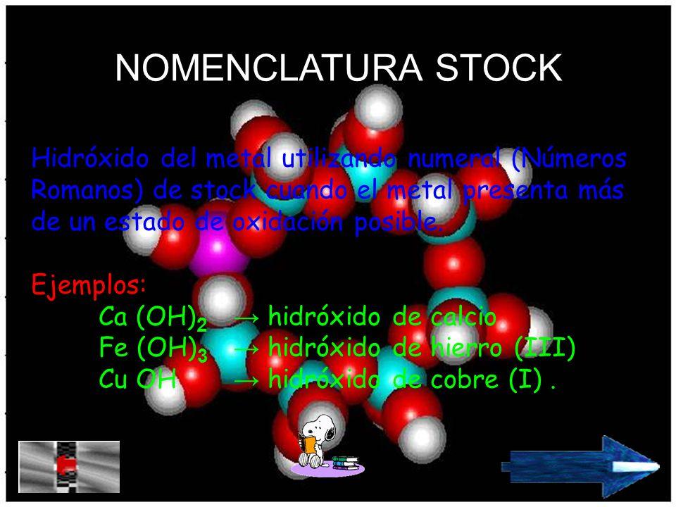 NOMENCLATURA STOCK Hidróxido del metal utilizando numeral (Números Romanos) de stock cuando el metal presenta más de un estado de oxidación posible.