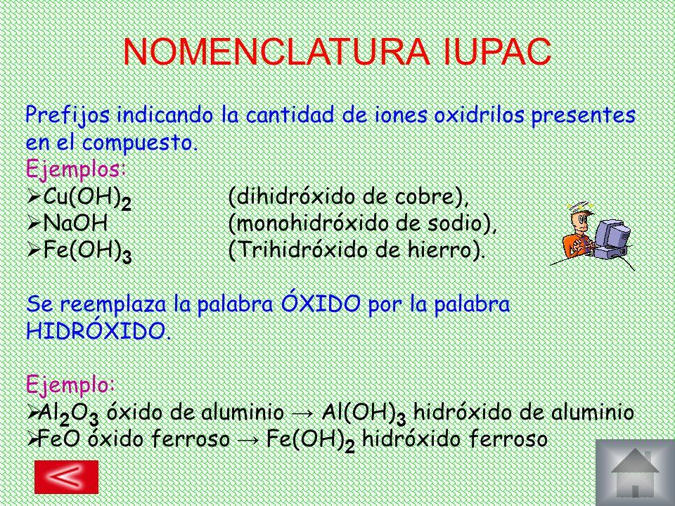 NOMENCLATURA IUPAC Prefijos indicando la cantidad de iones oxidrilos presentes en el compuesto. Ejemplos: