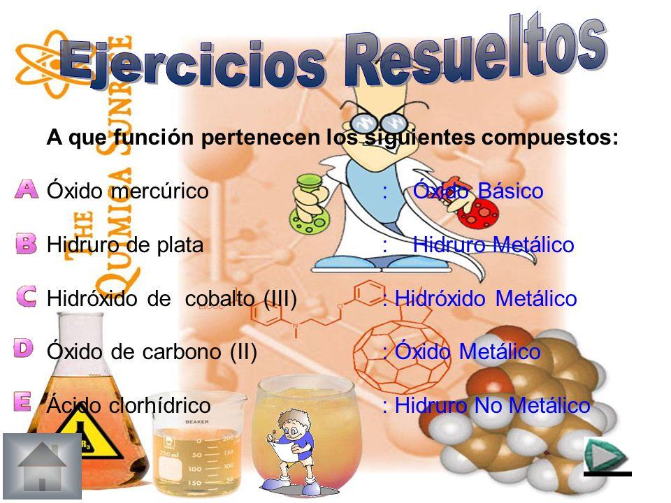 Ejercicios Resueltos A que función pertenecen los siguientes compuestos: Óxido mercúrico : Óxido Básico.