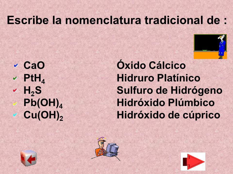 Escribe la nomenclatura tradicional de :