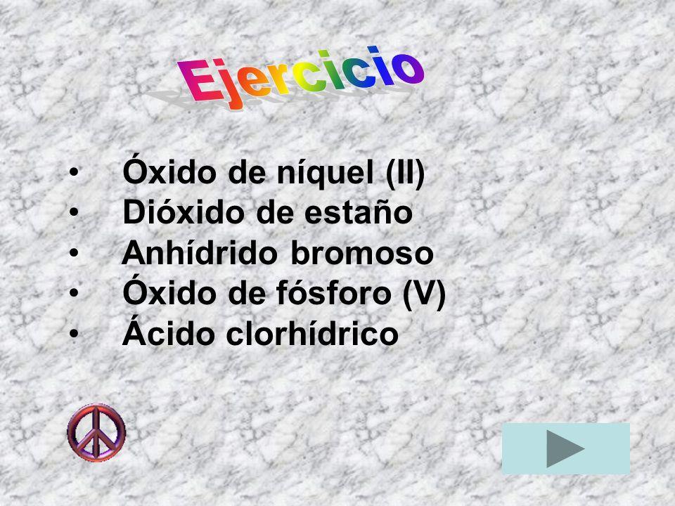 Ejercicio Óxido de níquel (II) Dióxido de estaño.