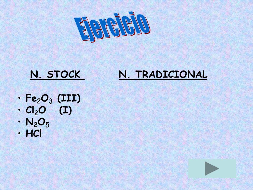 Ejercicio N. STOCK N. TRADICIONAL Fe2O3 (III) Cl2O (I) N2O5 HCl