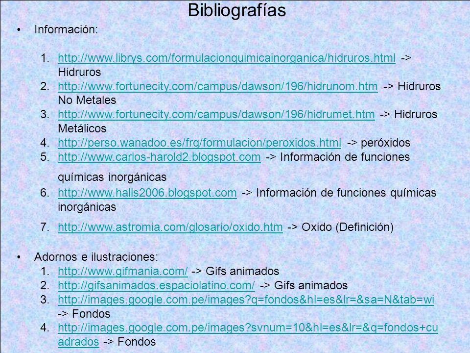 Bibliografías Información: