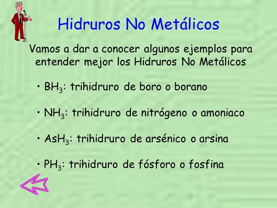 Hidruros No Metálicos Vamos a dar a conocer algunos ejemplos para entender mejor los Hidruros No Metálicos.