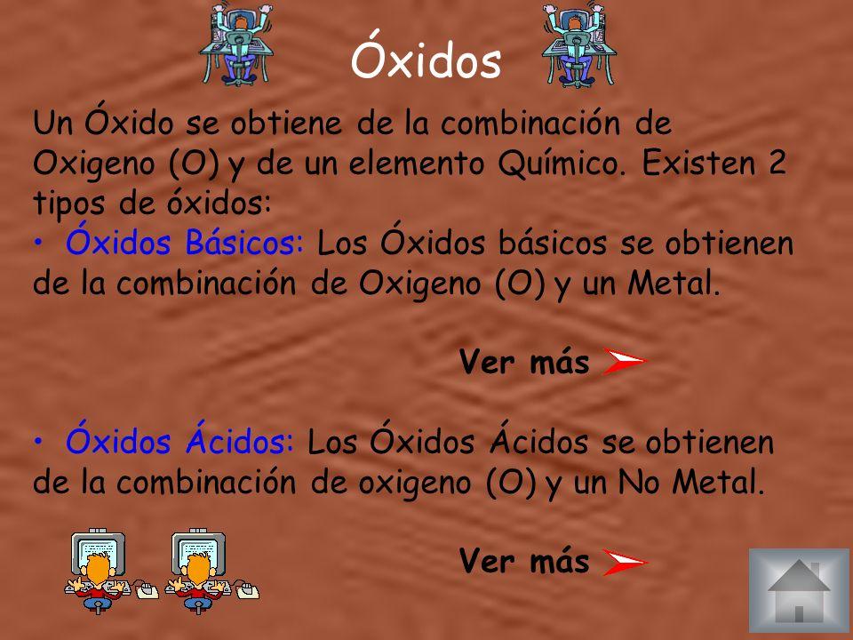 Óxidos Un Óxido se obtiene de la combinación de Oxigeno (O) y de un elemento Químico. Existen 2 tipos de óxidos:
