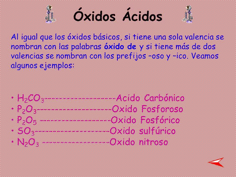 Óxidos Ácidos H2CO3-------------------Acido Carbónico