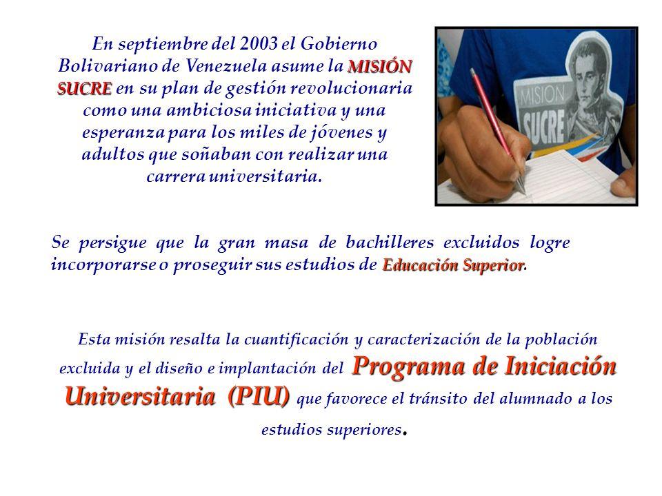 En septiembre del 2003 el Gobierno Bolivariano de Venezuela asume la MISIÓN SUCRE en su plan de gestión revolucionaria como una ambiciosa iniciativa y una esperanza para los miles de jóvenes y adultos que soñaban con realizar una carrera universitaria.