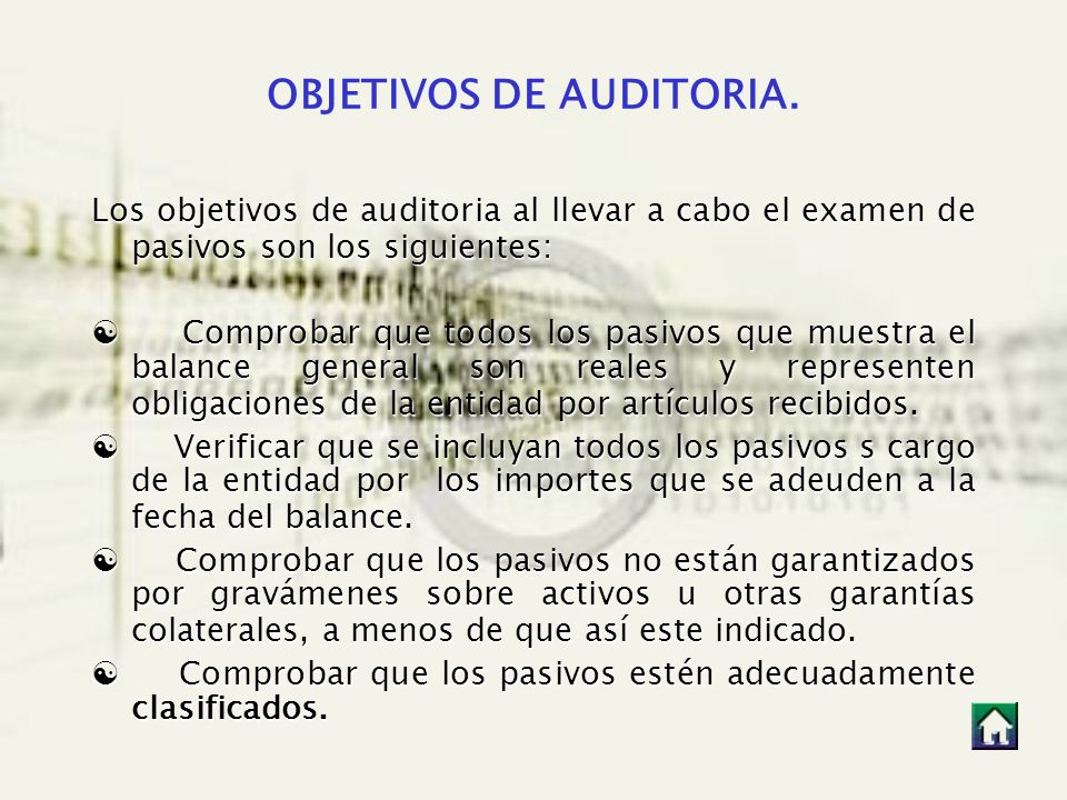 OBJETIVOS DE AUDITORIA.