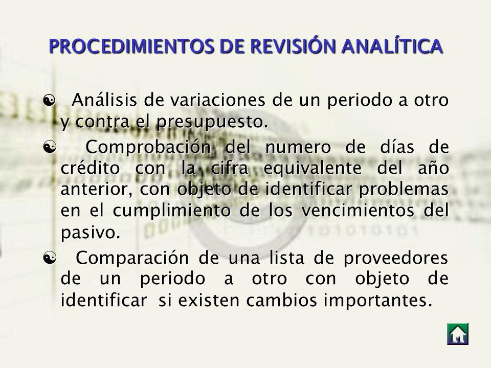 PROCEDIMIENTOS DE REVISIÓN ANALÍTICA