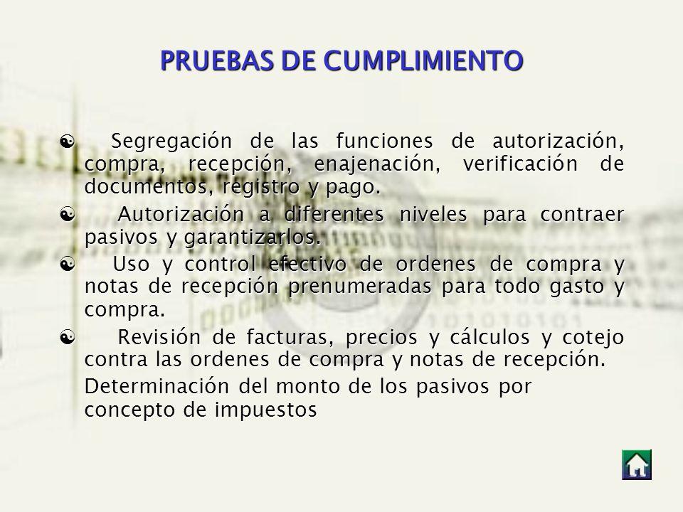 PRUEBAS DE CUMPLIMIENTO