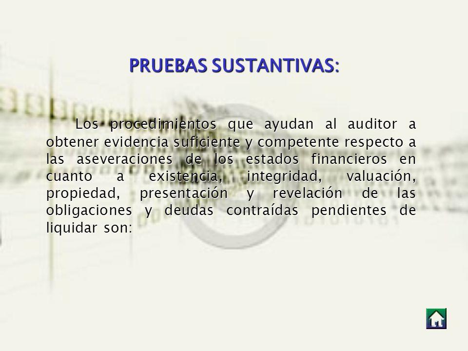 PRUEBAS SUSTANTIVAS: