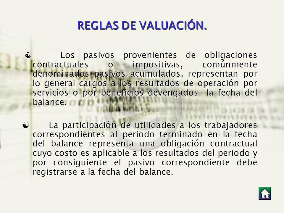 REGLAS DE VALUACIÓN.