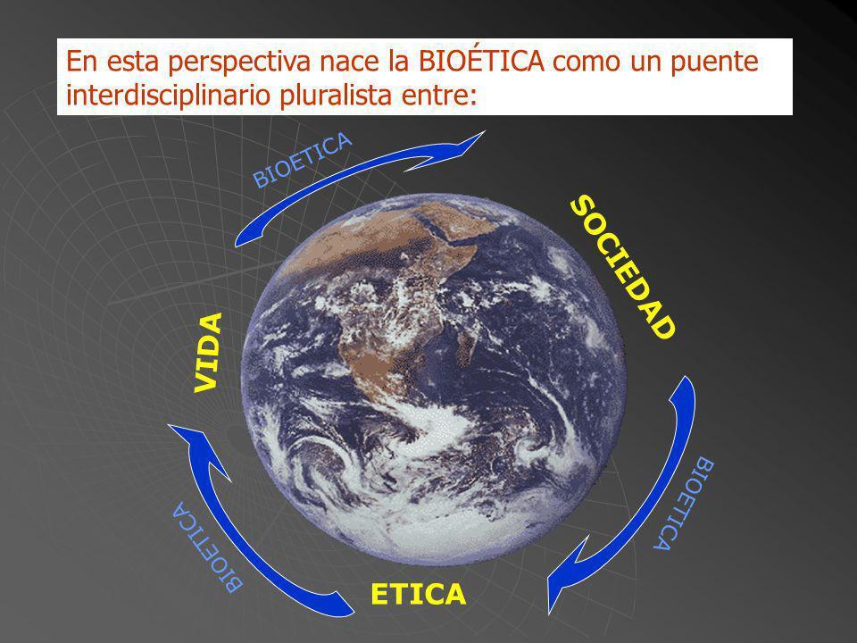 En esta perspectiva nace la BIOÉTICA como un puente interdisciplinario pluralista entre: