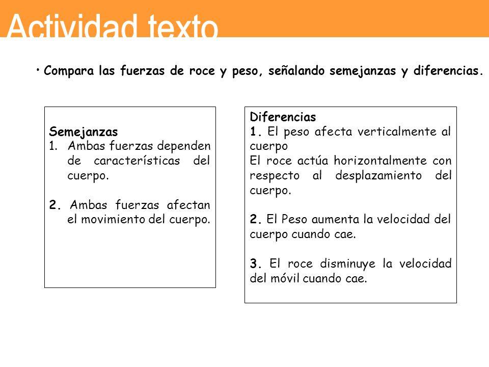 Actividad texto • Compara las fuerzas de roce y peso, señalando semejanzas y diferencias. Semejanzas.