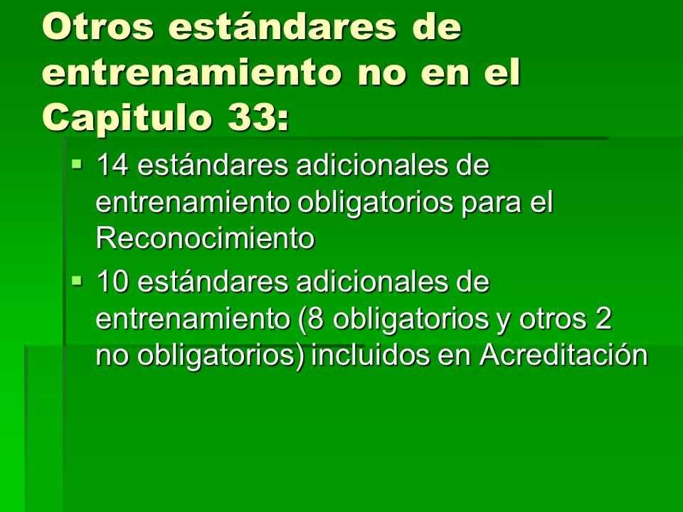 Otros estándares de entrenamiento no en el Capitulo 33: