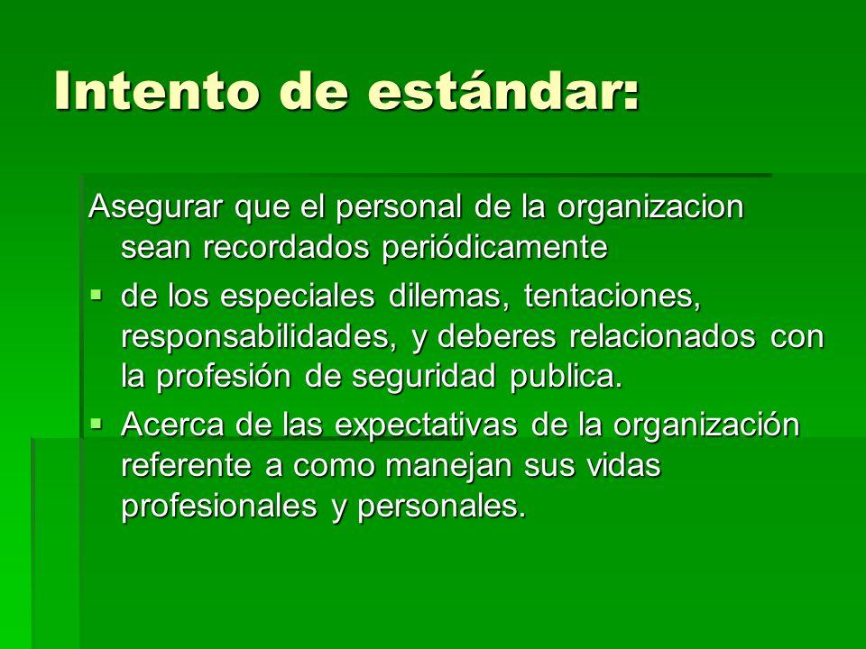 Intento de estándar: Asegurar que el personal de la organizacion sean recordados periódicamente.