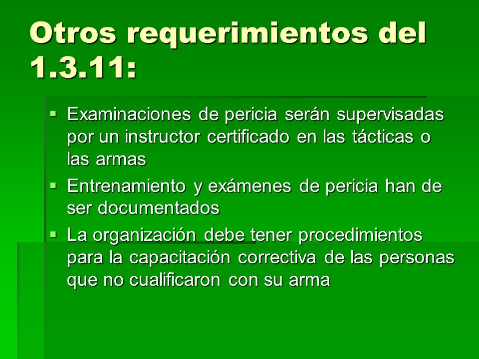Otros requerimientos del 1.3.11: