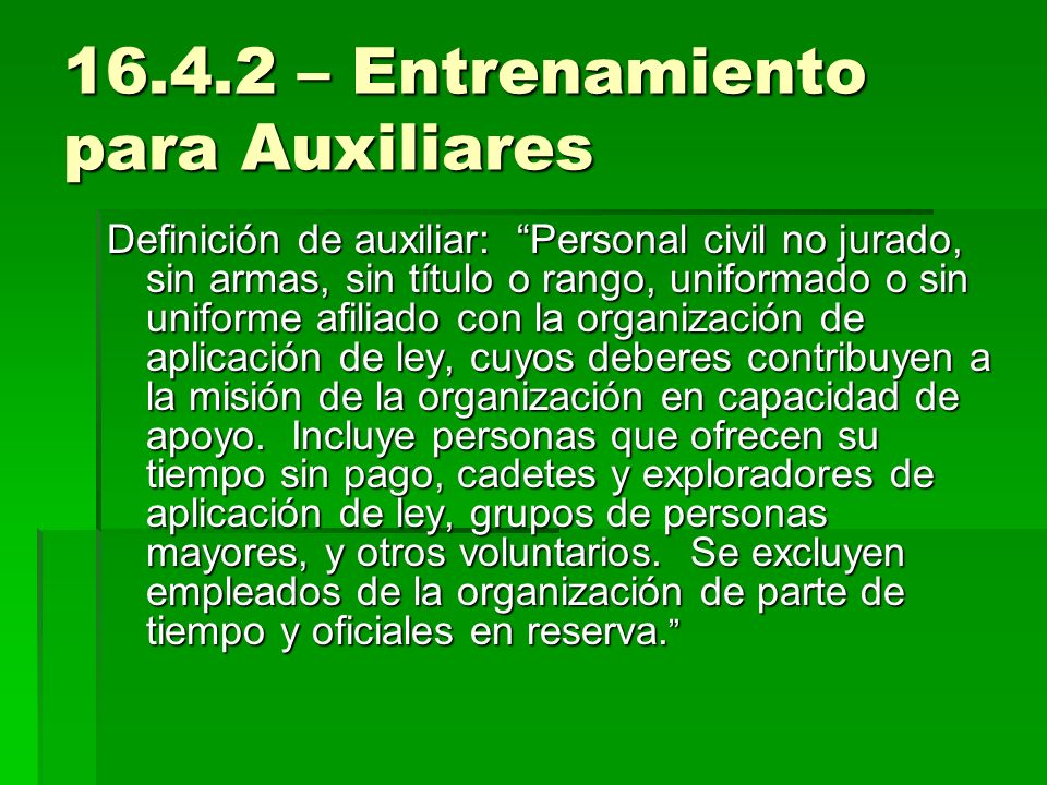 16.4.2 – Entrenamiento para Auxiliares