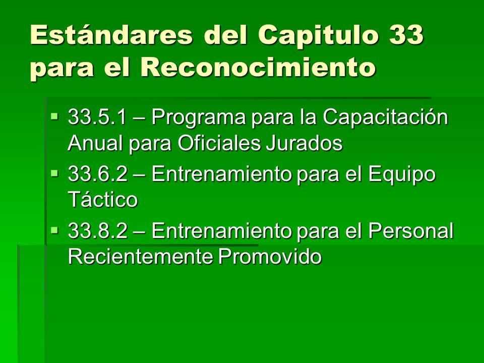 Estándares del Capitulo 33 para el Reconocimiento