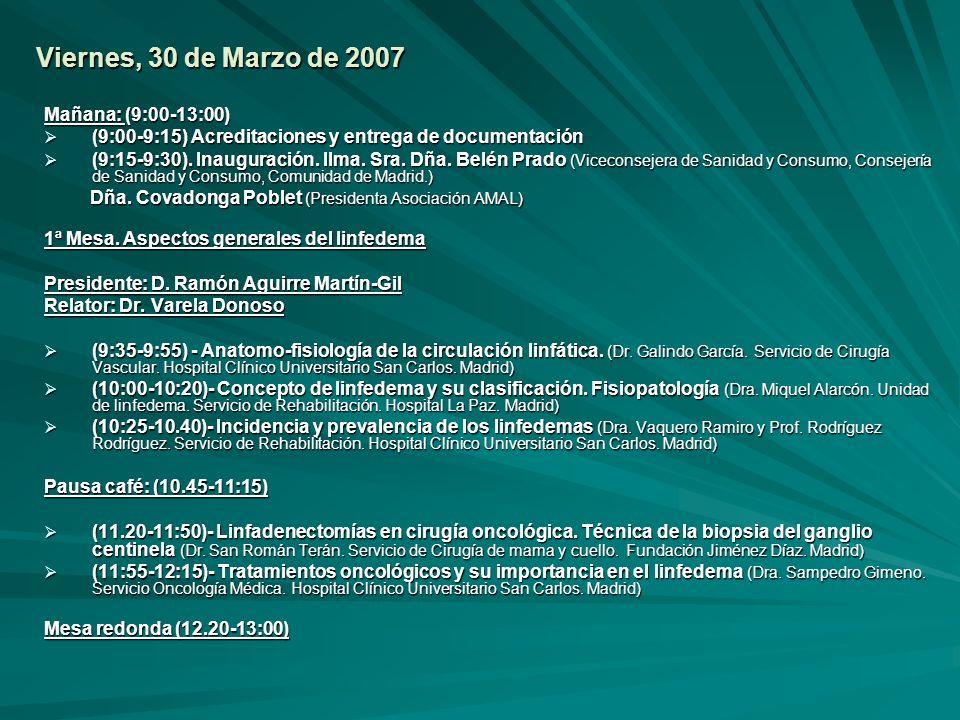 Viernes, 30 de Marzo de 2007 Mañana: (9:00-13:00)