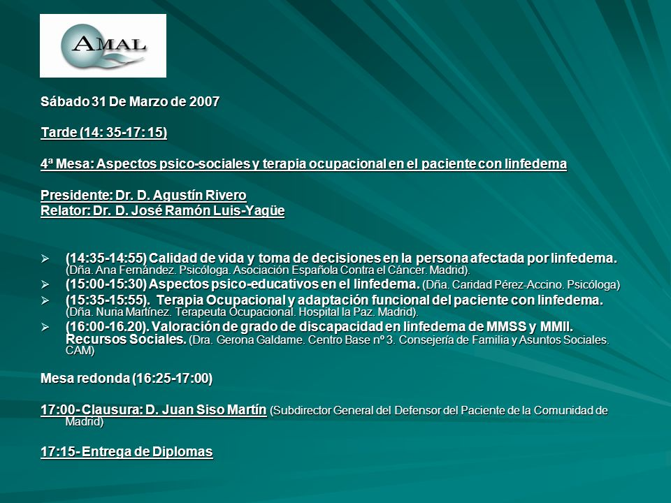 Sábado 31 De Marzo de 2007 Tarde (14: 35-17: 15) 4ª Mesa: Aspectos psico-sociales y terapia ocupacional en el paciente con linfedema.