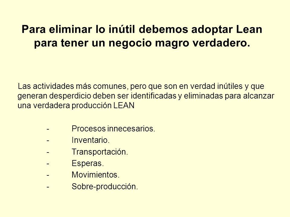 Para eliminar lo inútil debemos adoptar Lean para tener un negocio magro verdadero.