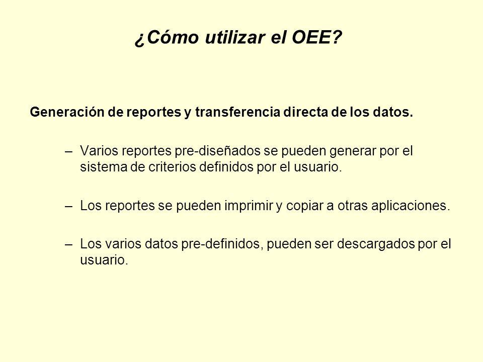 ¿Cómo utilizar el OEE Generación de reportes y transferencia directa de los datos.