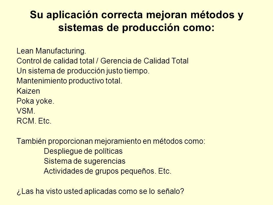 Su aplicación correcta mejoran métodos y sistemas de producción como: