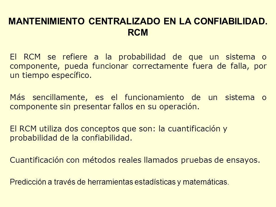 MANTENIMIENTO CENTRALIZADO EN LA CONFIABILIDAD. RCM