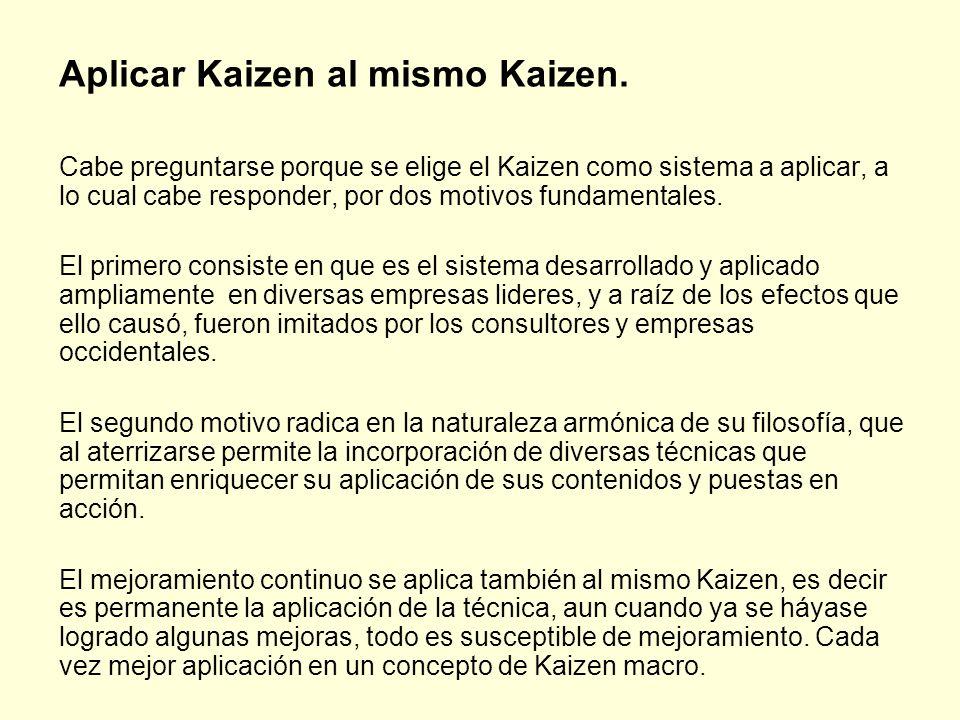 Aplicar Kaizen al mismo Kaizen.