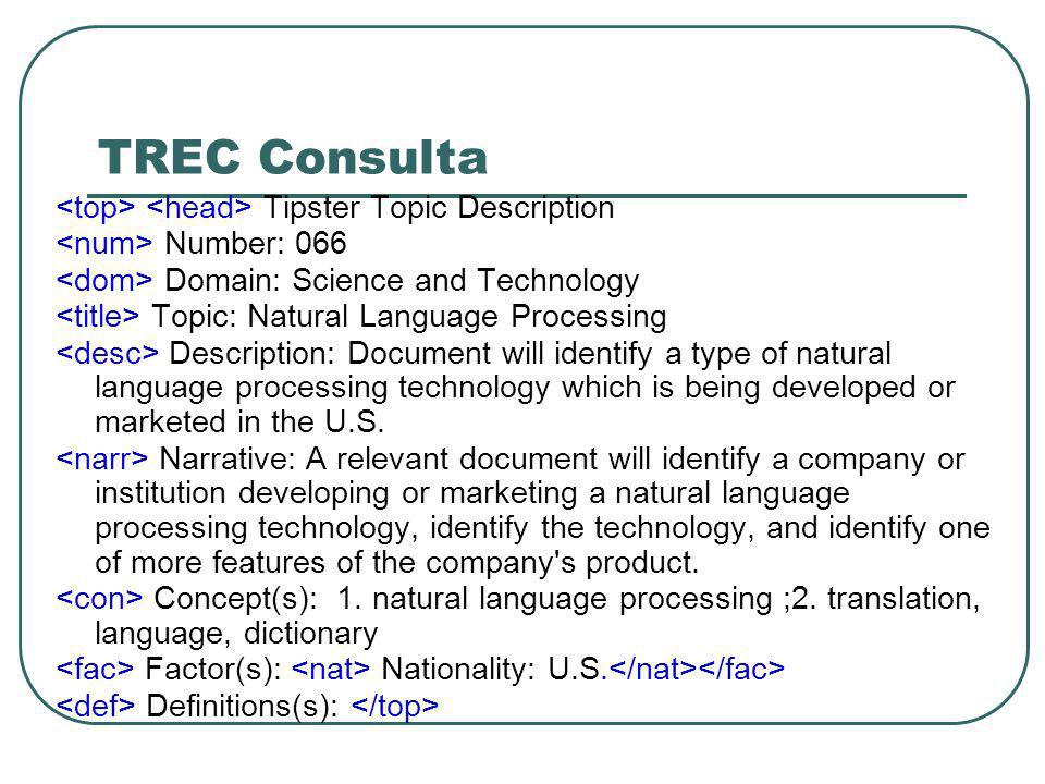TREC Consulta <top> <head> Tipster Topic Description