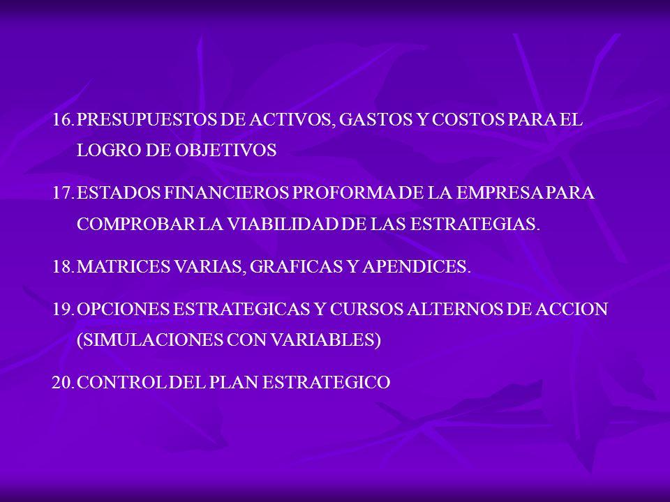 PRESUPUESTOS DE ACTIVOS, GASTOS Y COSTOS PARA EL LOGRO DE OBJETIVOS