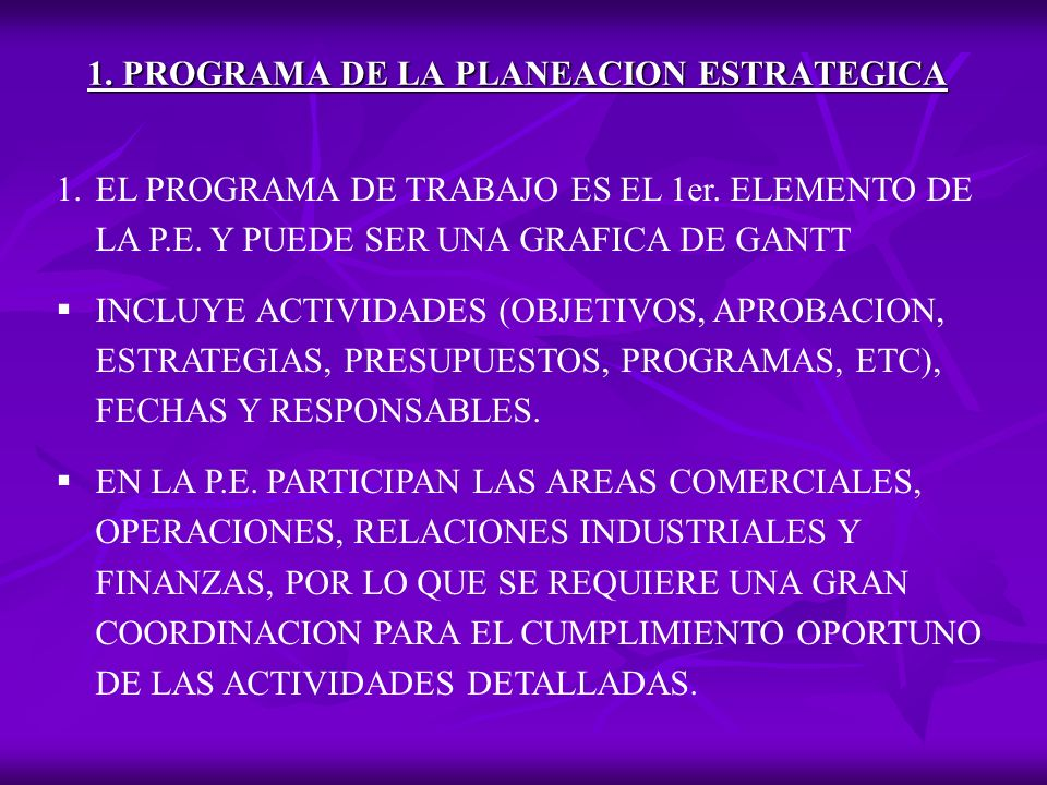 1. PROGRAMA DE LA PLANEACION ESTRATEGICA