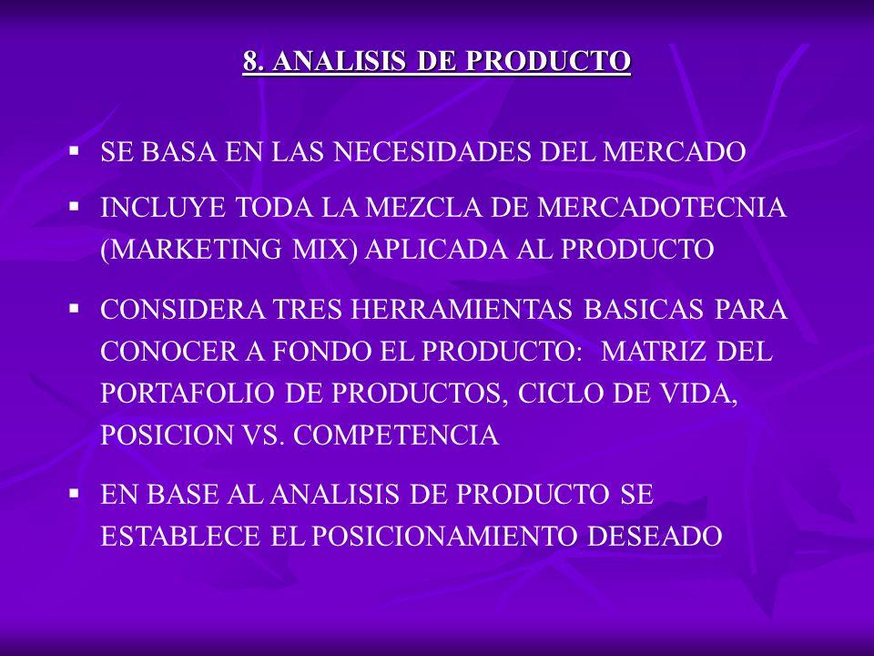 8. ANALISIS DE PRODUCTO SE BASA EN LAS NECESIDADES DEL MERCADO. INCLUYE TODA LA MEZCLA DE MERCADOTECNIA (MARKETING MIX) APLICADA AL PRODUCTO.