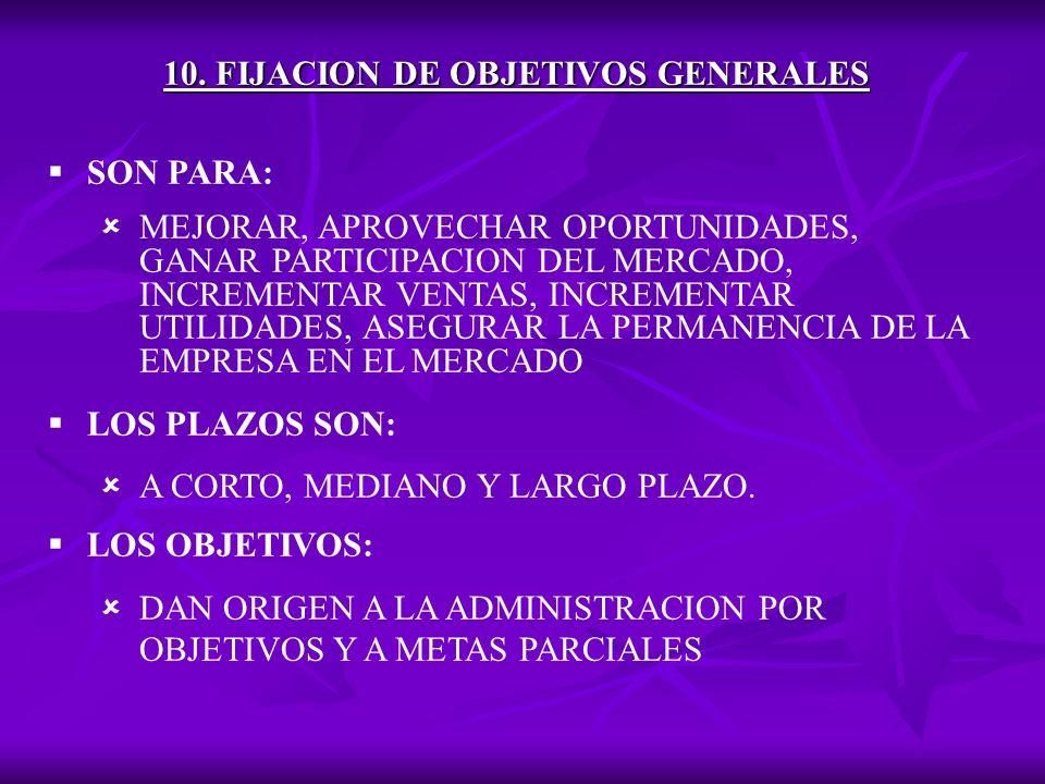 10. FIJACION DE OBJETIVOS GENERALES