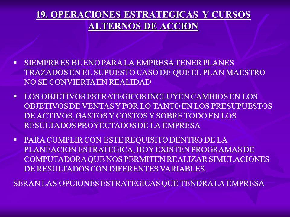 19. OPERACIONES ESTRATEGICAS Y CURSOS ALTERNOS DE ACCION