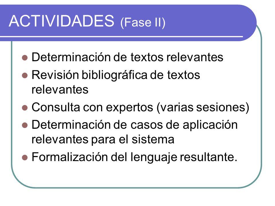 ACTIVIDADES (Fase II) Determinación de textos relevantes