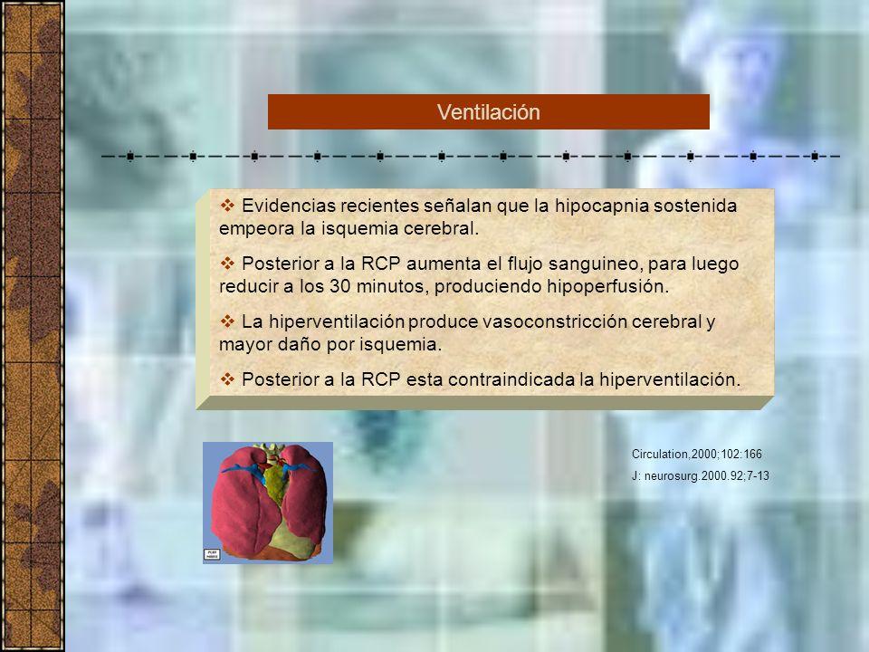 Ventilación Evidencias recientes señalan que la hipocapnia sostenida empeora la isquemia cerebral.