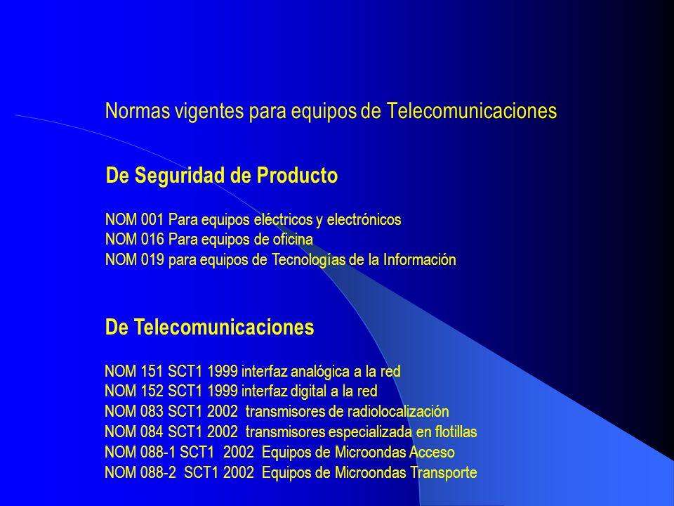 Normas vigentes para equipos de Telecomunicaciones