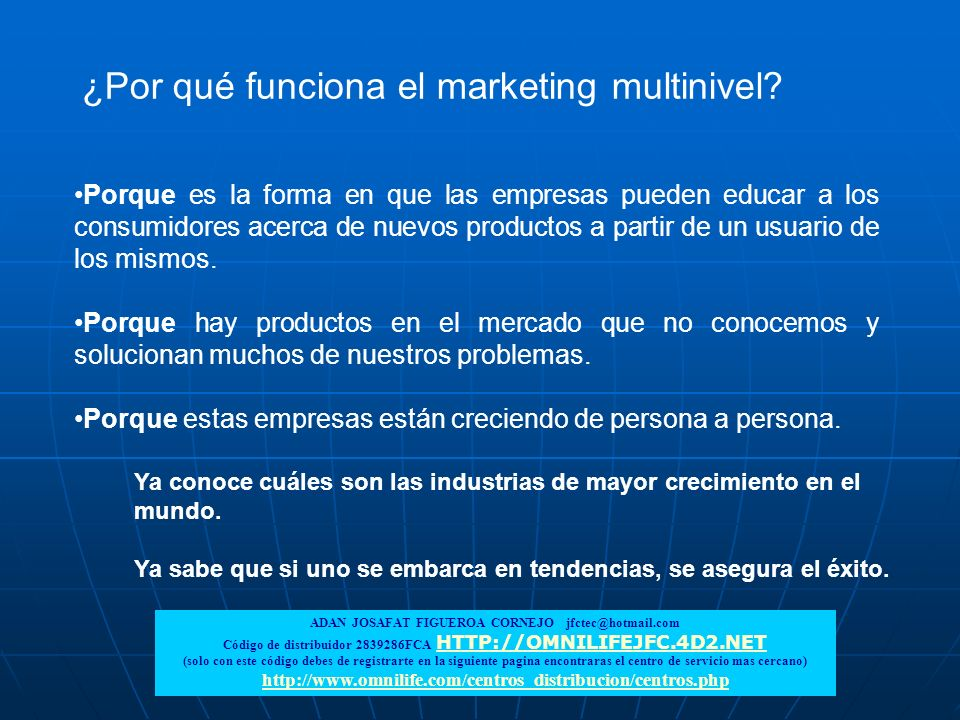 ¿Por qué funciona el marketing multinivel