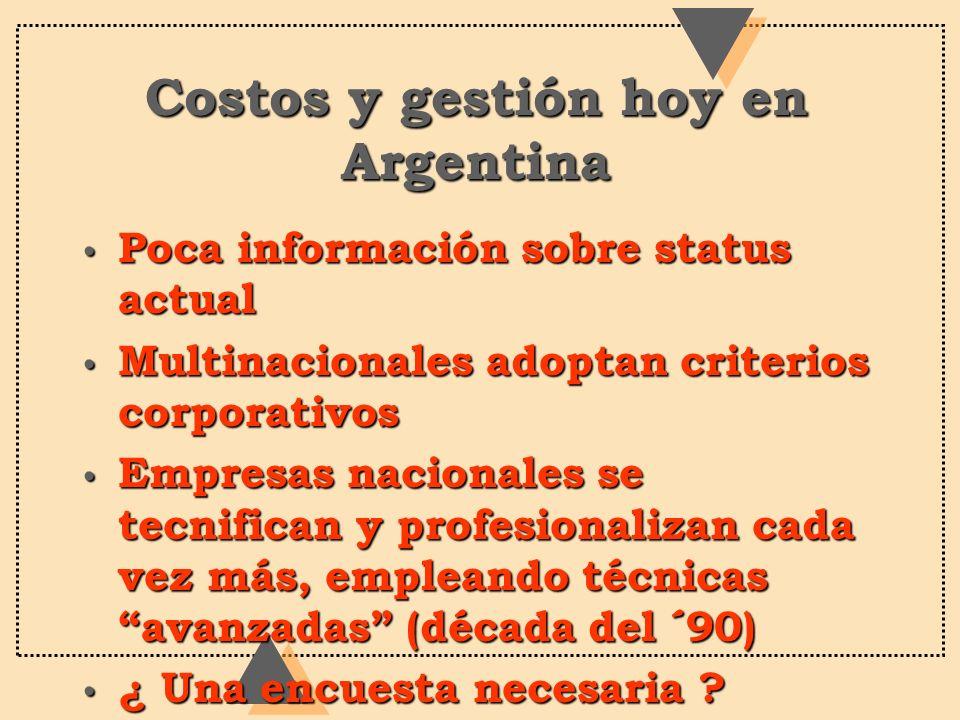 Costos y gestión hoy en Argentina