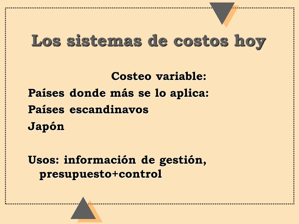 Los sistemas de costos hoy