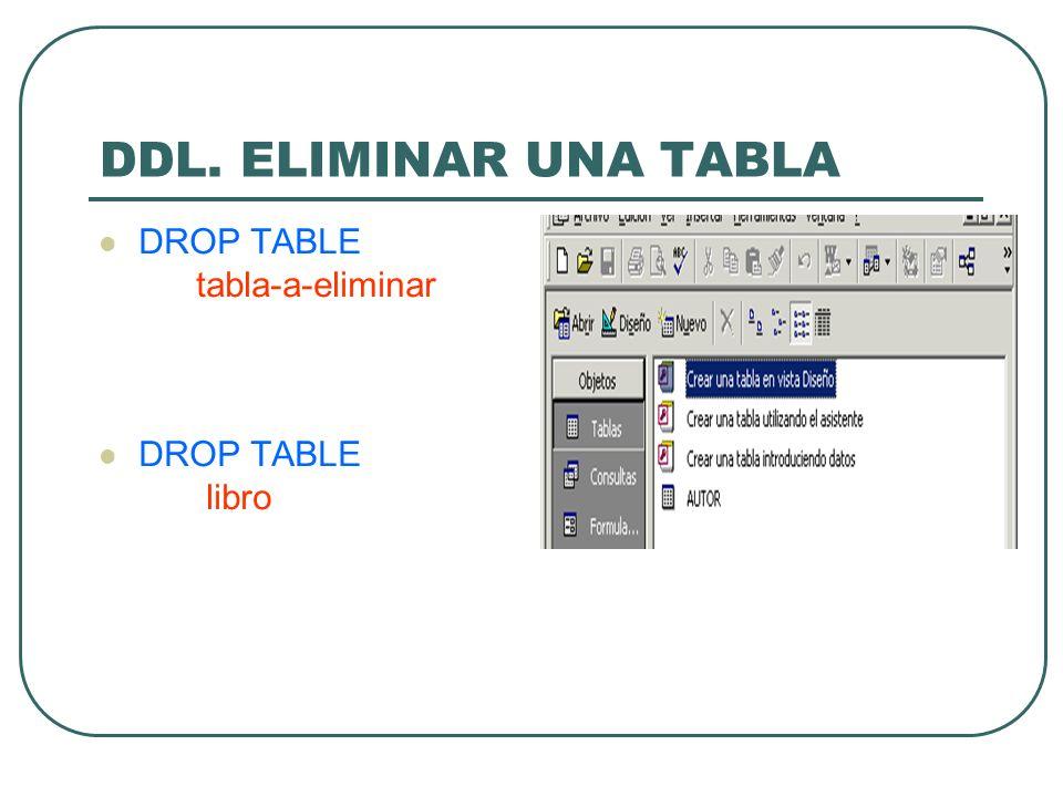 DDL. ELIMINAR UNA TABLA DROP TABLE tabla-a-eliminar libro