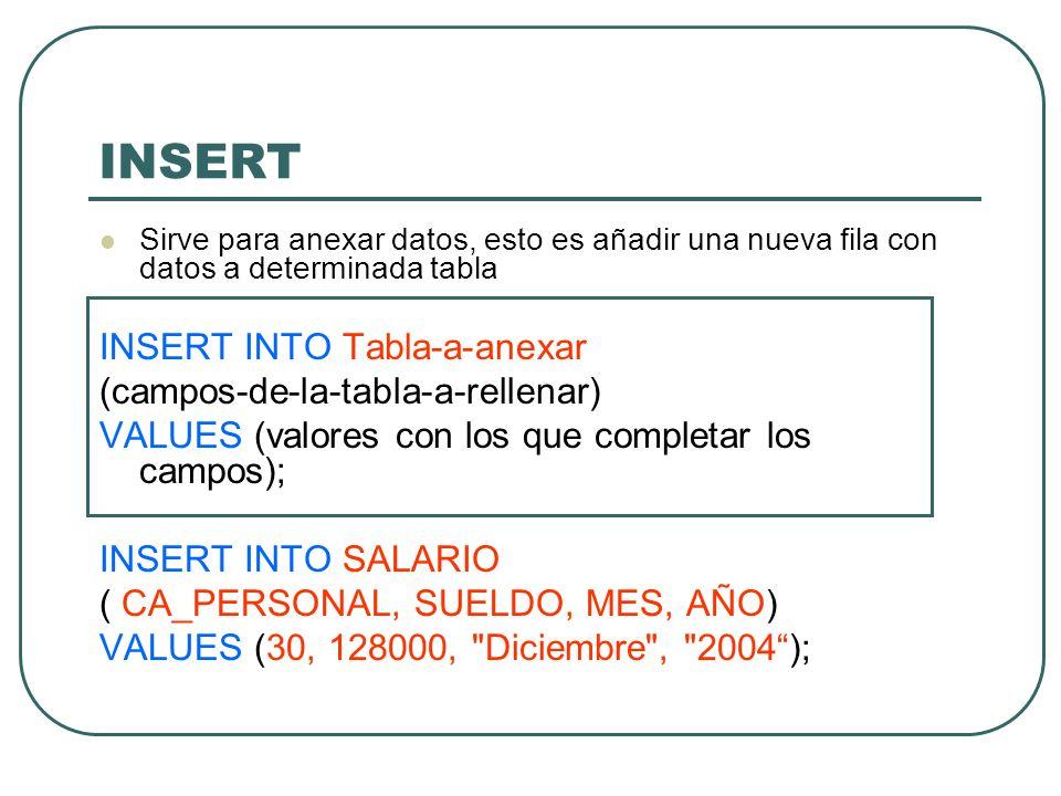 INSERT INSERT INTO Tabla-a-anexar (campos-de-la-tabla-a-rellenar)