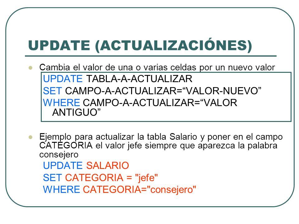 UPDATE (ACTUALIZACIÓNES)