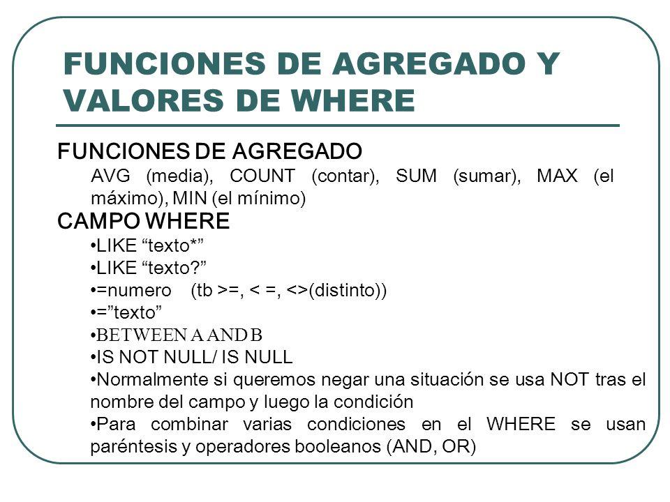 FUNCIONES DE AGREGADO Y VALORES DE WHERE