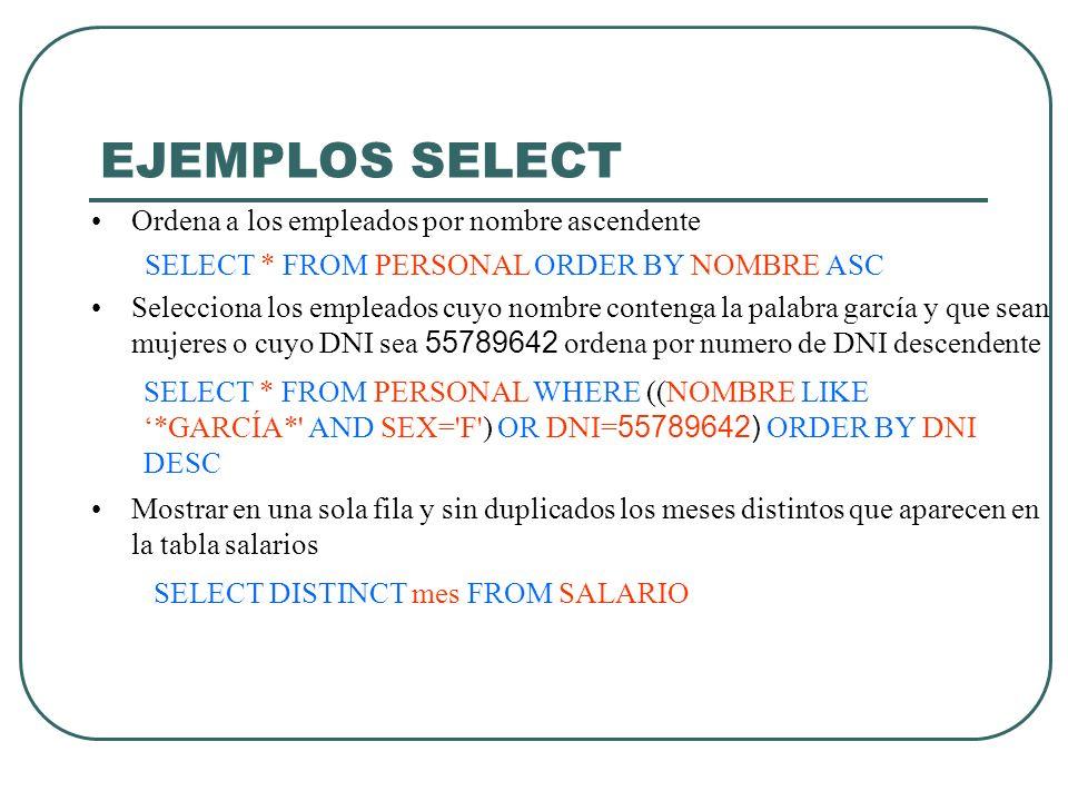 EJEMPLOS SELECT Ordena a los empleados por nombre ascendente