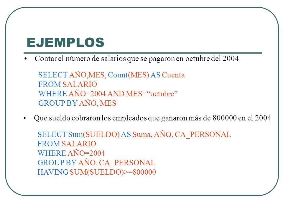 EJEMPLOS Contar el número de salarios que se pagaron en octubre del 2004. SELECT AÑO,MES, Count(MES) AS Cuenta.