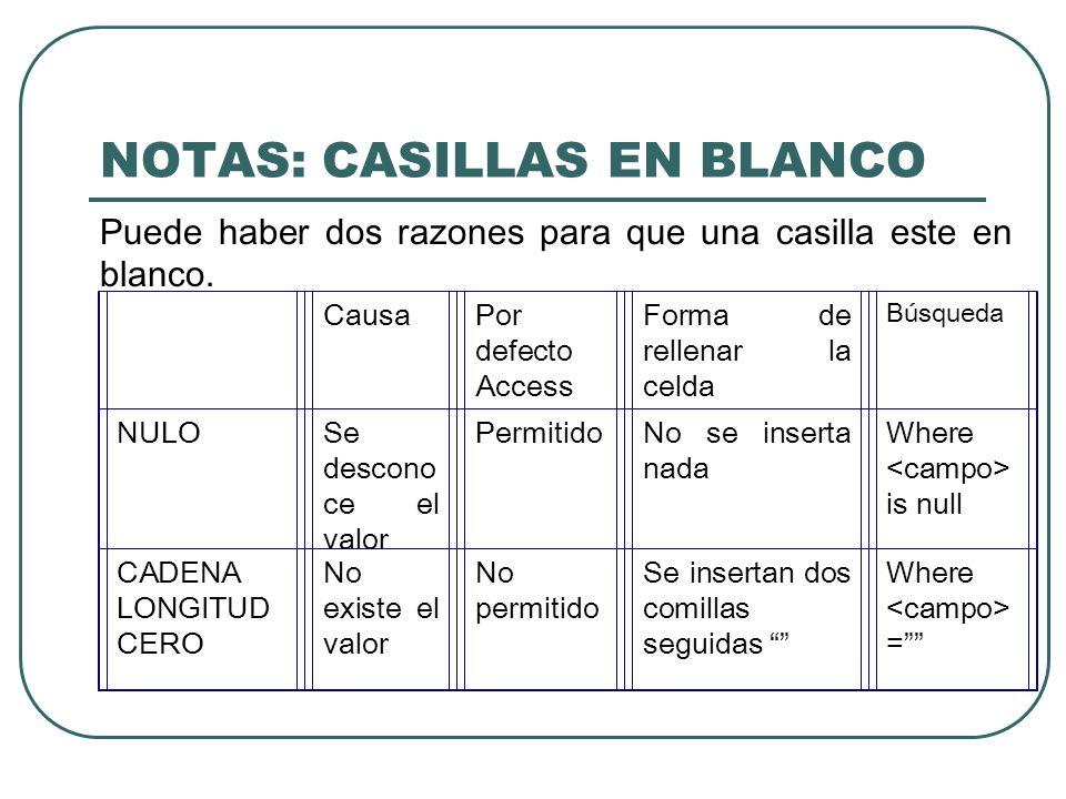 NOTAS: CASILLAS EN BLANCO
